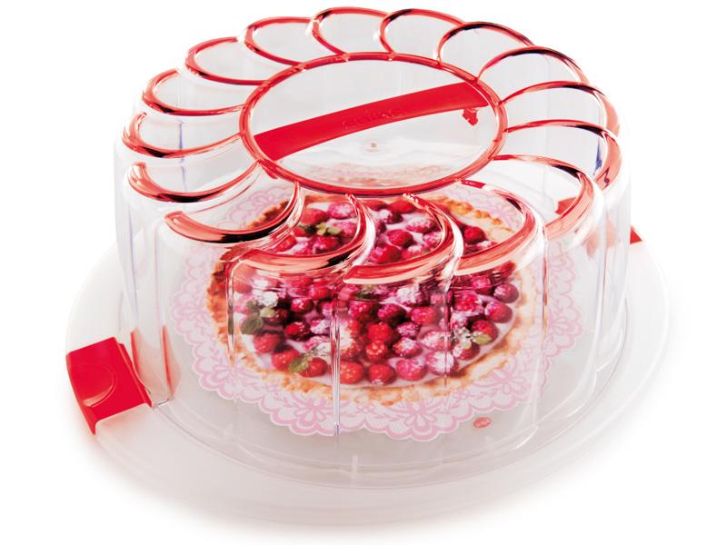 Snips Box na dort s podnosem, červený